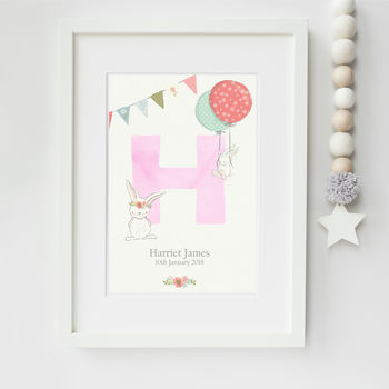 New Baby Girl Personalised Bunny Rabbit Print
