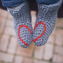 Handmade Baby Booties With Heart Or Snowflake
