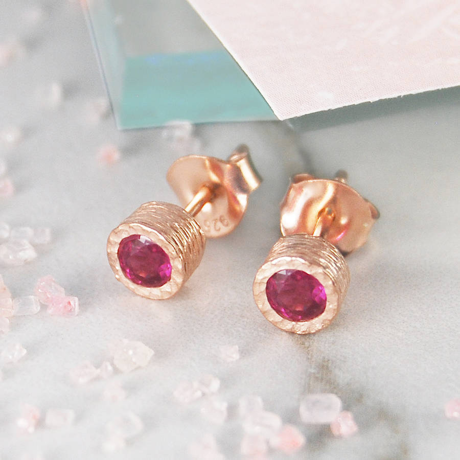 Ruby And Amethyst Birthstone Rose Gold Earrings