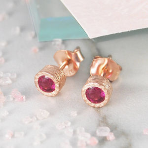 Ruby And Amethyst Birthstone Rose Gold Stud Earrings