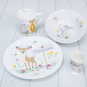 Personalised Ceramic Woodland Animals Breakfast Set