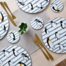Penguin Waddle Placemat Grey Stripe