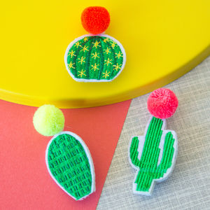 Stitched Cactus Patch Brooch Set - children's jewellery
