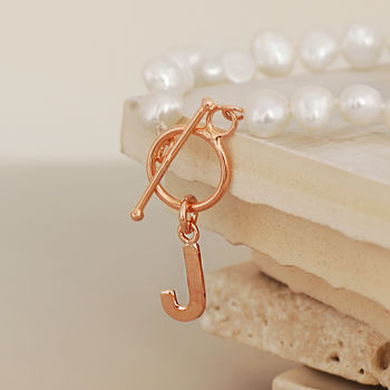 Personalised Rose Gold And Pearl Bracelet