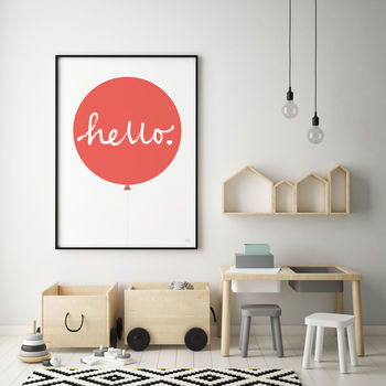 Hello Balloon Print Red