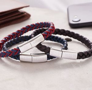 Personalised Two Tone Men's Leather Bracelet