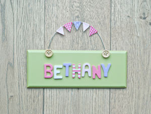 Personalised Vintage Style Door Sign - baby's room
