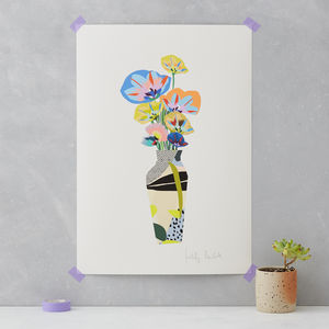 Colourful Flowers Vase Print