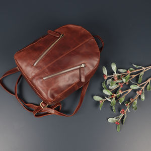 Dakota Leather Small Zip Backpack