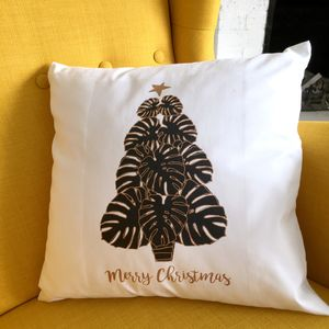 'Merry Christmas' Monstera Christmas Cushion Cover - cushions