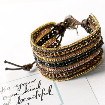 Bronze Cuff Wrap Bracelet With Crystals