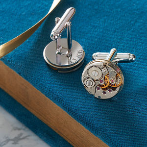 Personalised Vintage Watch Movement Cufflinks - gifts for grandparents