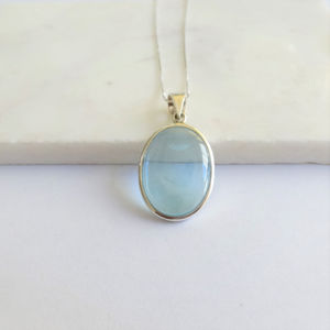 Blue Topaz Cabochon Necklace In Sterling Silver