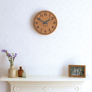 Chunky Cork Wall Clock. White And Black Print