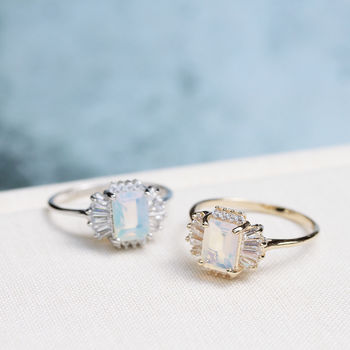 Opal 1920s Style Cocktail Gatsby Ring In Silver Or Gold