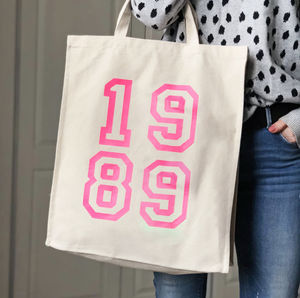 1989 30th Birthday Pink Neon Canvas Bag