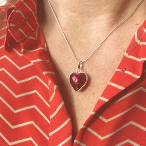 Murano Glass Heart Sterling Silver Pendant