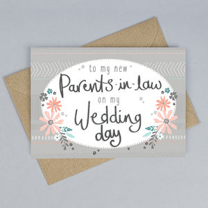 To My Parents In Law On My Wedding Day Card - wedding stationery