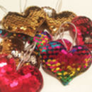 Reversible Sequin Heart Shaped Charm Or Keyring