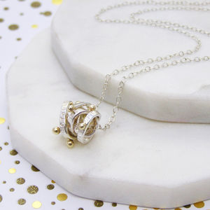 Personalised Silver And Gold Ball Scroll Necklace