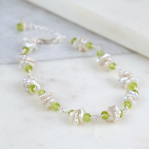 Freshwater Pearl And Peridot Gemstone Bracelet