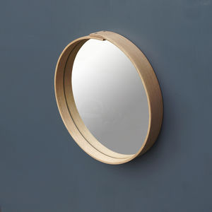 Steam Bent Wooden Framed Circular Mirror - mirrors