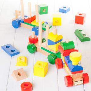 Personalised Colourful Wooden Building Blocks Train - gifts for children