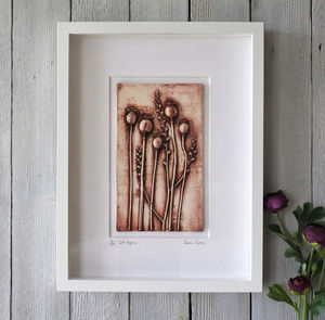 Poppies Plaster Cast Tile Framed
