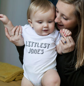 Personalised Littlest Family Member Babygrow Or Set - babygrows