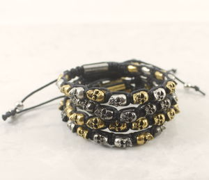 Beaded Skull Friendship Bracelet - bracelets & bangles