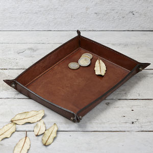 Personalised Leather Coin Tray - cufflink boxes & coin trays