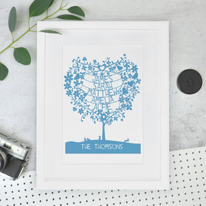 Personalised Family Names Tree Papercut Print - shop by price