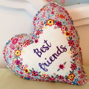Best Friend Heart Shaped Cushion - living room
