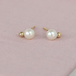 Gold And Pearl Lunar Studs - earrings