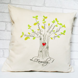 Personalised Family Tree Cushion With Heart
