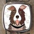 Brown And White Collie Dog Compact Mirror