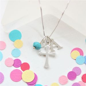 Personalised Silver Cross With Birthstones - jewellery gifts for children