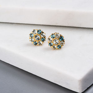 Wanderlust Gold Sky Blue And London Blue Topaz Studs