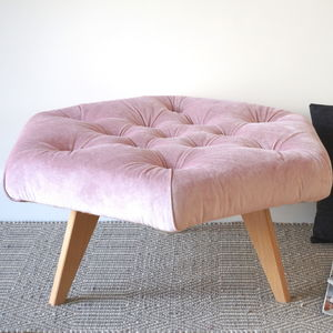 Velvet Buttoned Hexagonal Footstool - footstools & pouffes