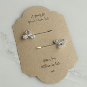 Personalised Crystal Bow Hair Clips - wedding fashion