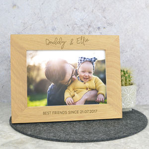 Daddy And Me Personalised Solid Oak Photo Frame