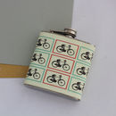 Cyclists Retro Bicycle Print Hip Flask