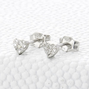 Sterling Silver And Crystal Heart Stud Earrings - children's accessories