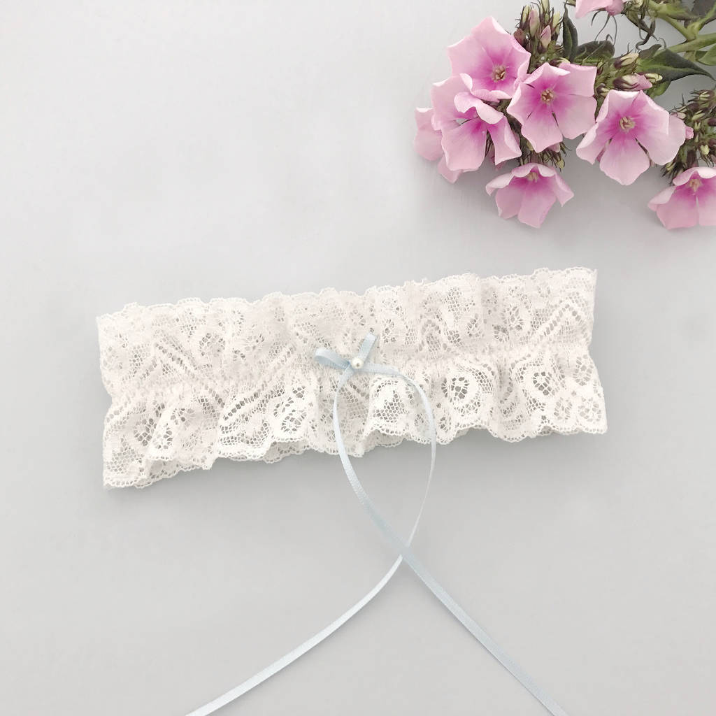 Why Two Garters For Wedding: Wedding Garter With Ivory Lace And Something Blue Bow By