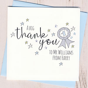 Personalised Rosette Teacher Thank You Card