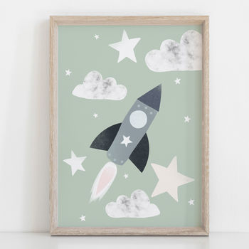 Blast Off Rocket Children's Nursery Print