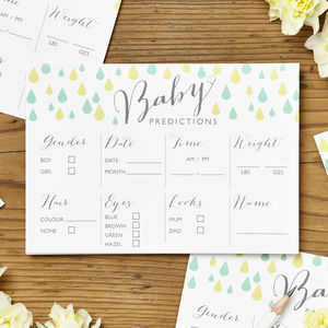 Baby Shower Prediction Cards Pack Of Eight - baby shower