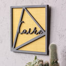 wall art sign in grey on mustard