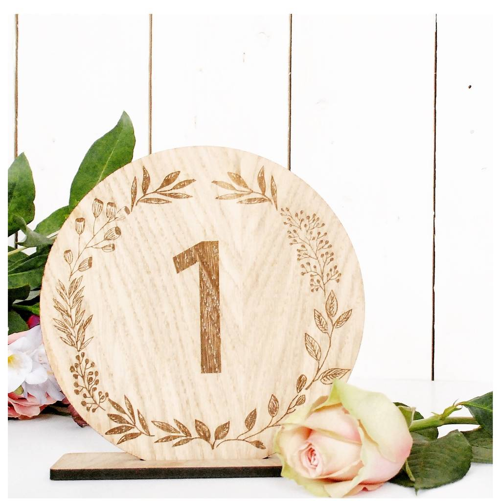 Wooden Wreath Wedding Table Numbers