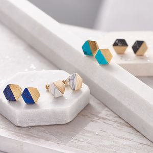 Hexagonal Marble Stone Stud Earrings - earrings